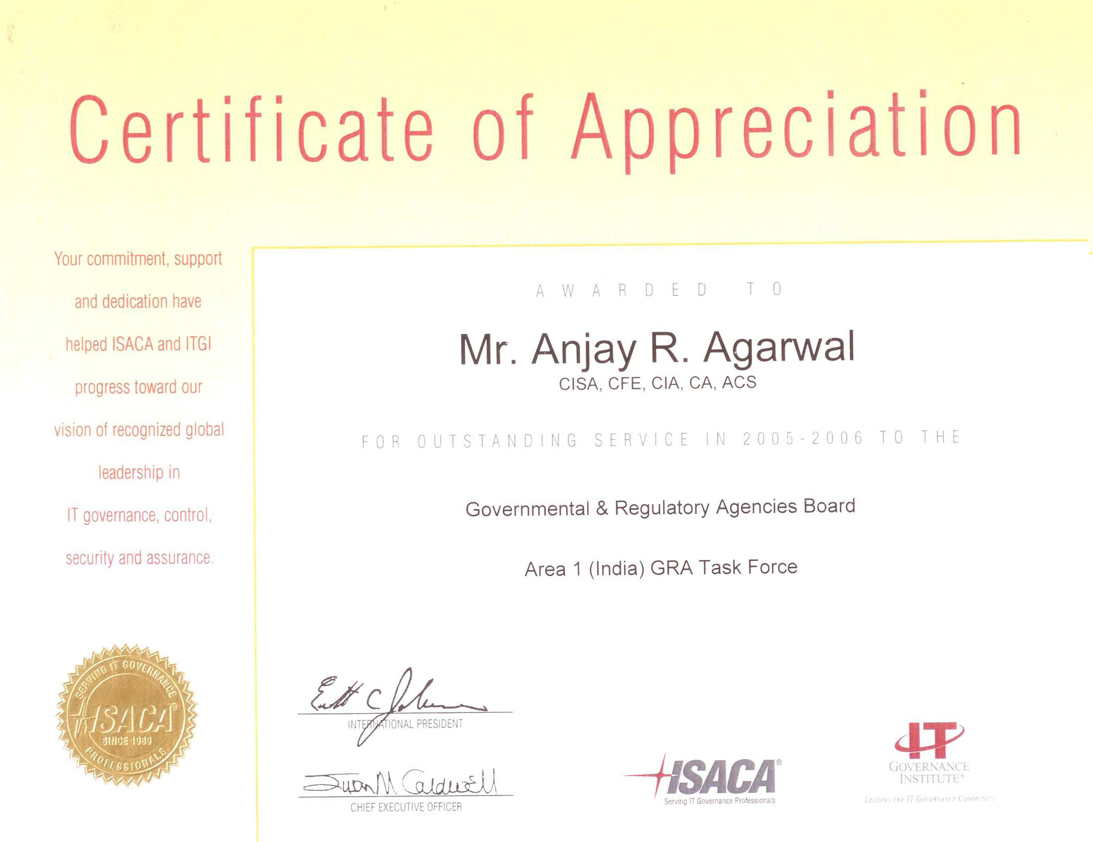 Achievements isacas certificate of appreciation for the year 2007 08 yelopaper Choice Image